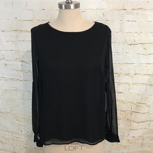 NWT Jennifer Lopez XS sheer pleated back top black